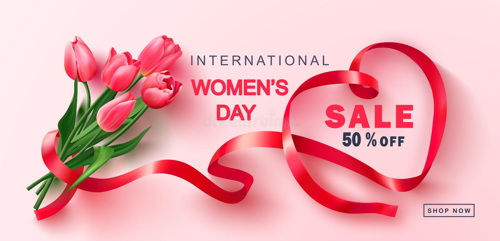 8 March Happy Women`s Day sale banner.Beautiful Background with tulips and ribbon. Vector illustration for postcards vector illustration