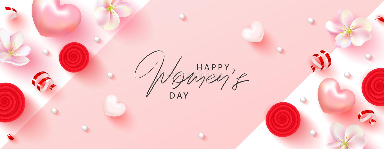 8 March Happy Womens Day banner. Beautiful Background with flowers, serpentine,hearts and gift boxes. Vector vector illustration