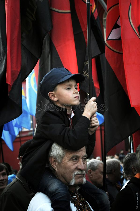 March in honor of UPA. Defender of Ukraine Day stock photography