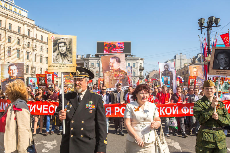 March of Immortal Regiment, timed to 71st anniversary of the Victory in the great Patriotic war. St.PETERSBURG, RUSSIA - MAY 9, 2016: March of Immortal Regiment stock photography