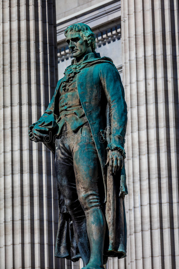 MARCH 4, 2017 - JEFFERSON CITY - MISSOURI - statue of Thomas Jefferson is show in front of Missouri state capitol building in Jef. Ferson City stock photo