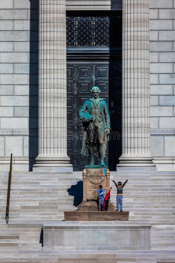 MARCH 4, 2017 - JEFFERSON CITY - MISSOURI - statue of Thomas Jefferson is show in front of Missouri state capitol building in Jef. Ferson City stock image