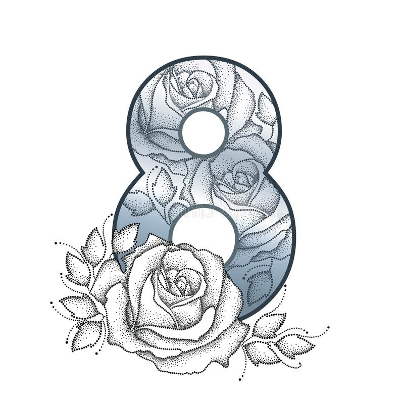 Vector silver number 8 with black dotted rose flower, leaf and swirls in black isolated on white background. Dotwork floral card. royalty free illustration