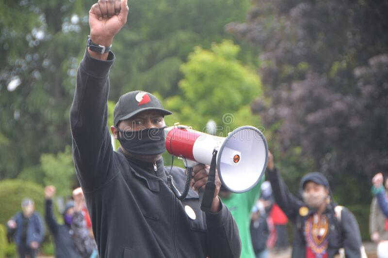 Man speaks at Salem, Oregon Black Lives Matter protest stock photography
