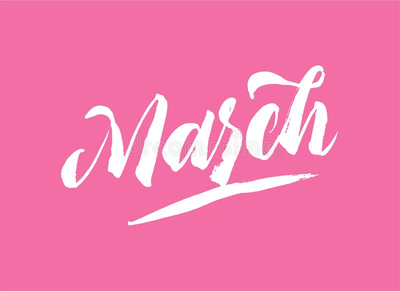 March lettering. Vector isolated handwritten. Brush pen modern trendy style. White on pink. Hand drawn Calligraphy vector illustration