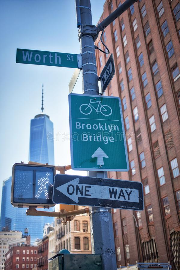 Brooklyn Bridge sign in the Financial District stock photo