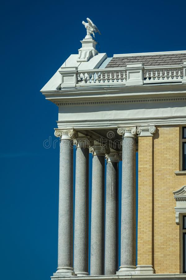 MARCH 6, 2018 - MARSHALL TEXAS - Marshall Texas Courthouse-Harrison County Courthouse, Marshall,. Statue, Blue. MARCH 6, 2018 - MARSHALL TEXAS - Marshall Texas royalty free stock photography