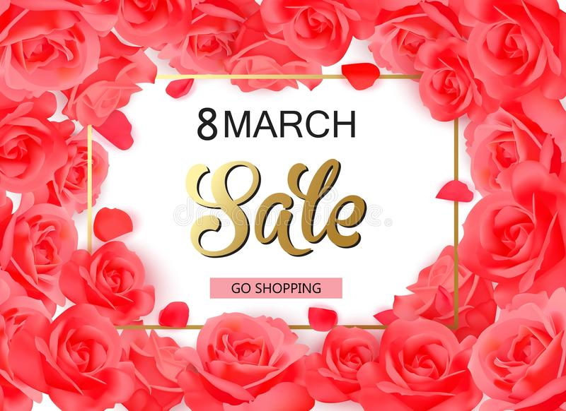 Download 8 March Modern Background Design With Red Roses. Stock Vector - Illustration of invitation, abstract: 87871678