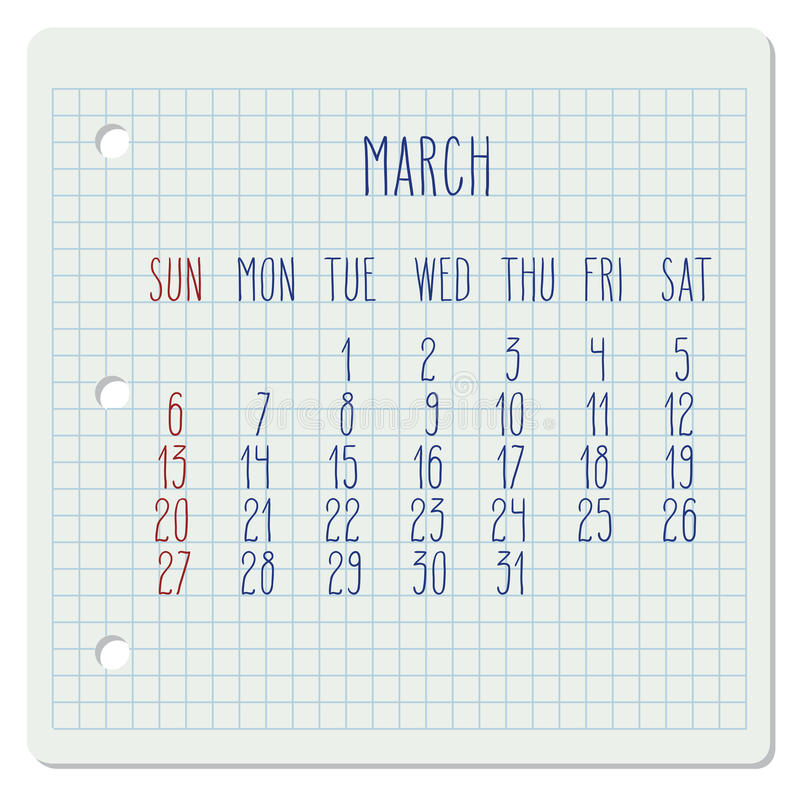 March 2016 monthly calendar. March 2016 vector monthly calendar on a squared notebook page. Week starting from Sunday. Hand written typography royalty free illustration