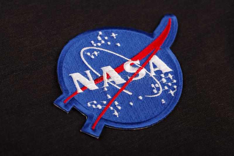 15 March 2018 - The National Aeronautics and Space Administration (NASA) emblem patch on black uniform stock images