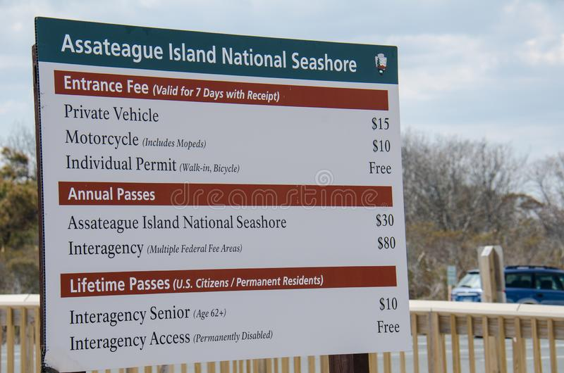 Ocean City, Maryland: Assateague Island National Seashore sign for admission prices. Ocean City, Maryland: Assateague Island National Seashore entrance fees sign stock photo