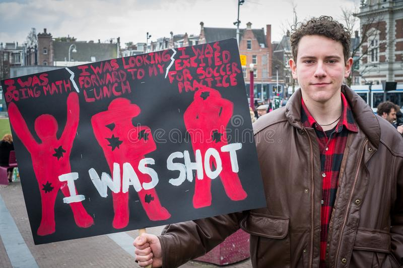 March for Our Lives, Amsterdam. stock image
