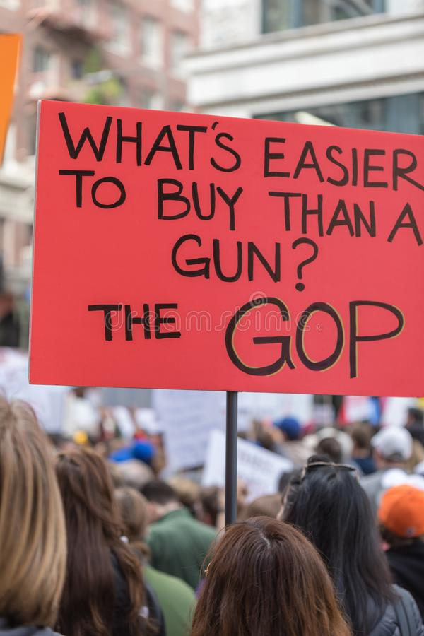 March For Our Lives Los Angeles. LOS ANGELES, CALIFORNIA - MARCH 24, 2018: Students, parents and supporters march in Los Angeles in the March For Our Lives royalty free stock photos