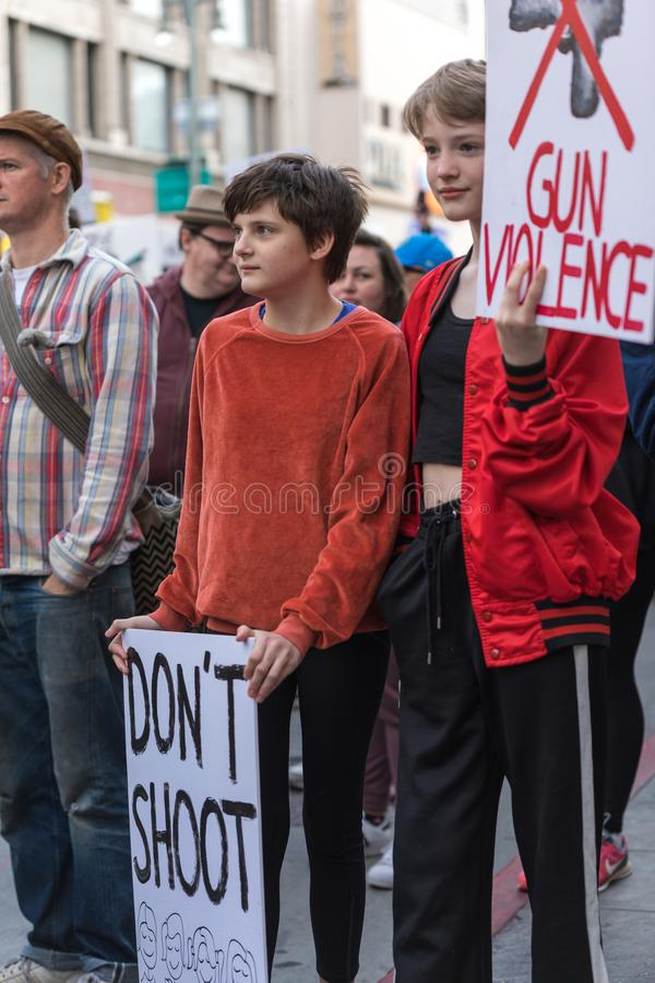 March For Our Lives Los Angeles. LOS ANGELES, CALIFORNIA - MARCH 24, 2018: Students, parents and supporters march in Los Angeles in the March For Our Lives stock photography