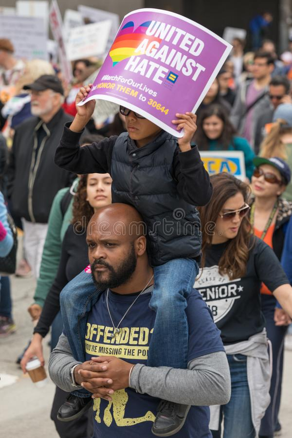 March For Our Lives Los Angeles. LOS ANGELES, CALIFORNIA - MARCH 24, 2018: Students, parents and supporters march in Los Angeles in the March For Our Lives royalty free stock photography