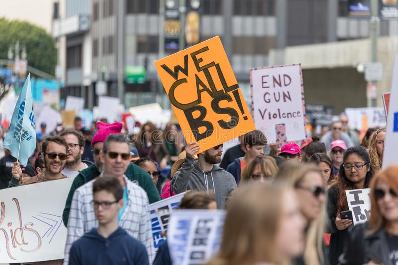March For Our Lives Los Angeles. LOS ANGELES, CALIFORNIA - MARCH 24, 2018: Students, parents and supporters march in Los Angeles in the March For Our Lives royalty free stock photo