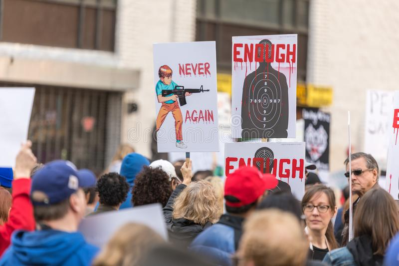 March For Our Lives Los Angeles. LOS ANGELES, CALIFORNIA - MARCH 24, 2018: Students, parents and supporters march in Los Angeles in the March For Our Lives royalty free stock images