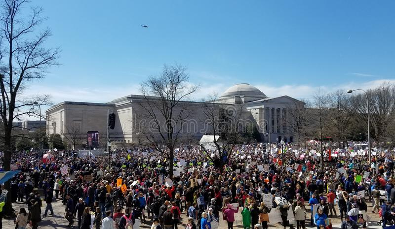 March For Our Lives on March, 24 in Washington, DC. WASHINGTON, DC, USA - MARCH 24, 2018: People demonstrate in the March For Our Lives, a student-led rally royalty free stock images