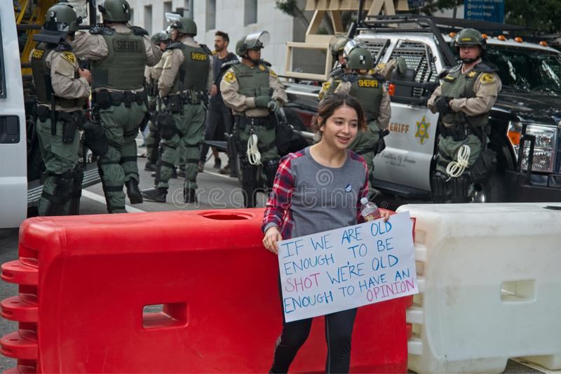 March for Our Lives movement`s march in Downtown Los Angeles stock photos