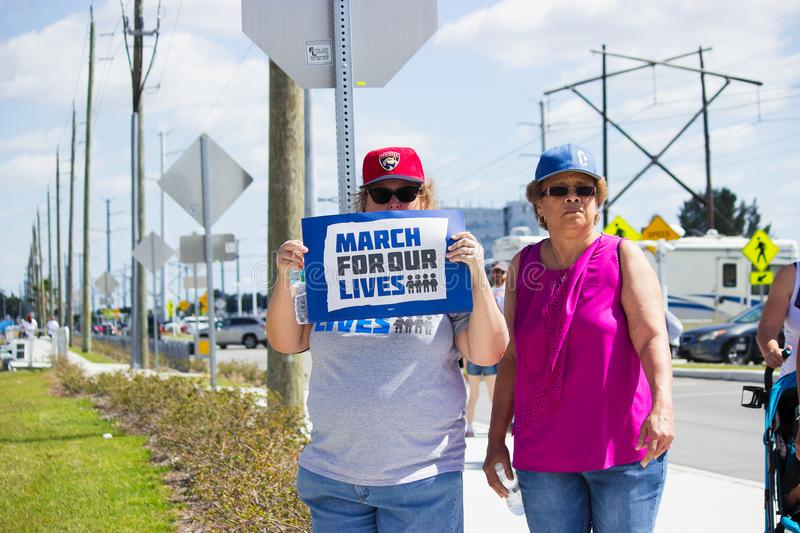 March For Our Lives in Pembroke Pines in Florida. People waiting for the March For Our Lives to start at Pembroke Pines Civic, City Center, FL on March 23rd 2018 stock images