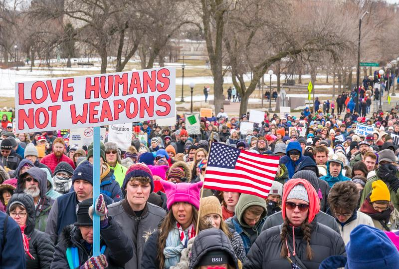 The March for Our Lives March in St. Paul, Minnesota, USA. stock photo