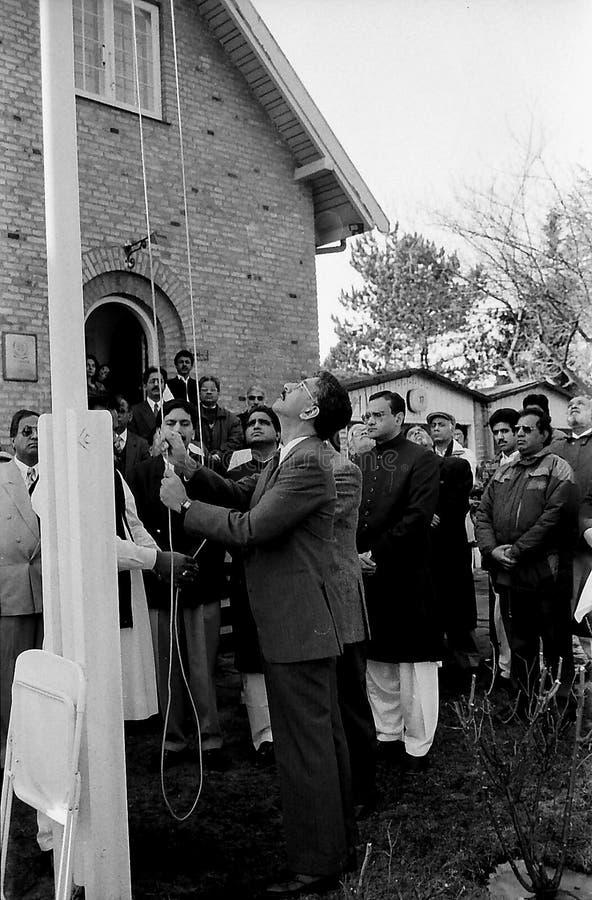 23 March Pakistans republic day celebration in Denmark. HELLERUP/COPENHAGEN/DENMARK. 23 Marchi 1996 _Asif Ezdi Pakistans ambassador to Denmark hoist Pakistans royalty free stock images