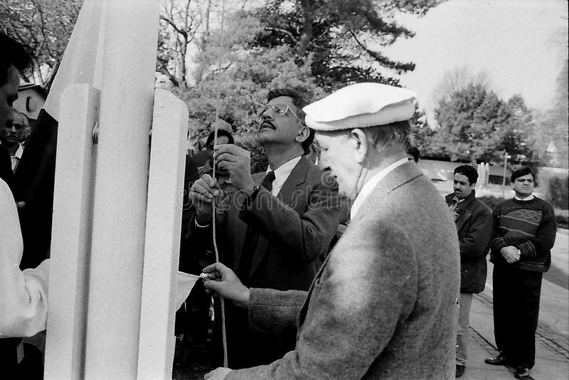 23 March Pakistans republic day celebration in Denmark. HELLERUP/COPENHAGEN/DENMARK. 23 Marchi 1996 _Asif Ezdi Pakistans ambassador to Denmark hoist Pakistans royalty free stock photography