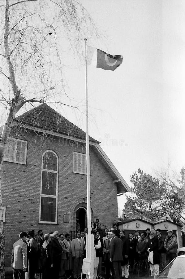 23 March Pakistans republic day celebration in Denmark. HELLERUP/COPENHAGEN/DENMARK. 23 Marchi 1996 _Asif Ezdi Pakistans ambassador to Denmark hoist Pakistans stock image