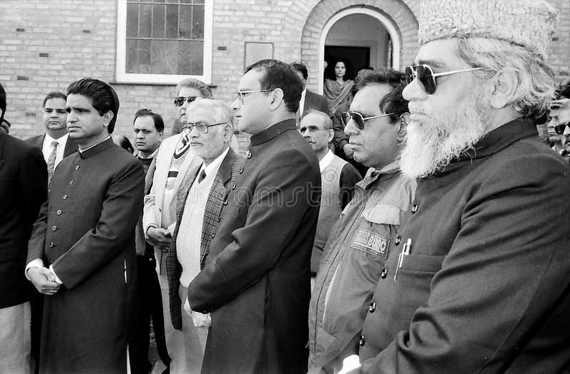 23 March Pakistans republic day celebration in Denmark. HELLERUP/COPENHAGEN/DENMARK. 23 Marchi 1996 _Asif Ezdi Pakistans ambassador to Denmark hoist Pakistans royalty free stock image