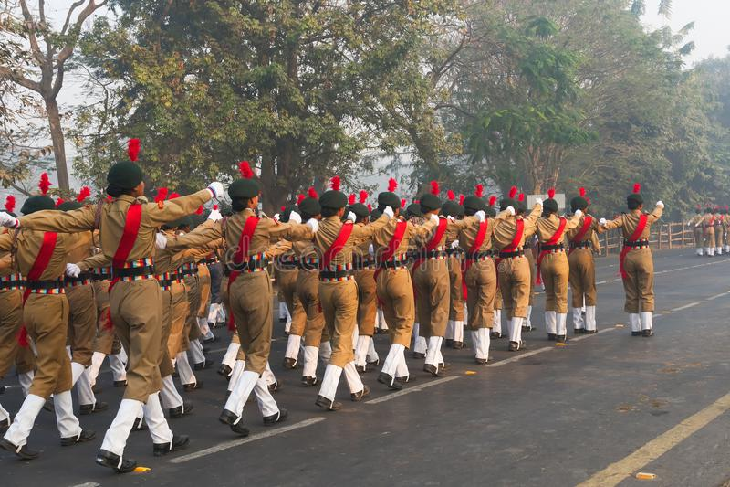 March past of India`s National Cadet Corps`s lady cadets royalty free stock photo
