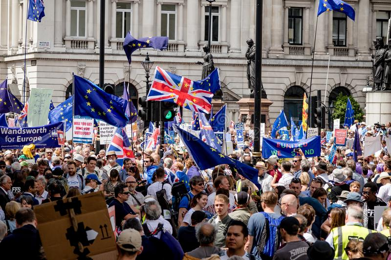 The march for a People`s Vote. London, United Kingdom, 23rd June 2018:- The March for a People`s Vote in Central London demanding a vote on the final deal on royalty free stock photo