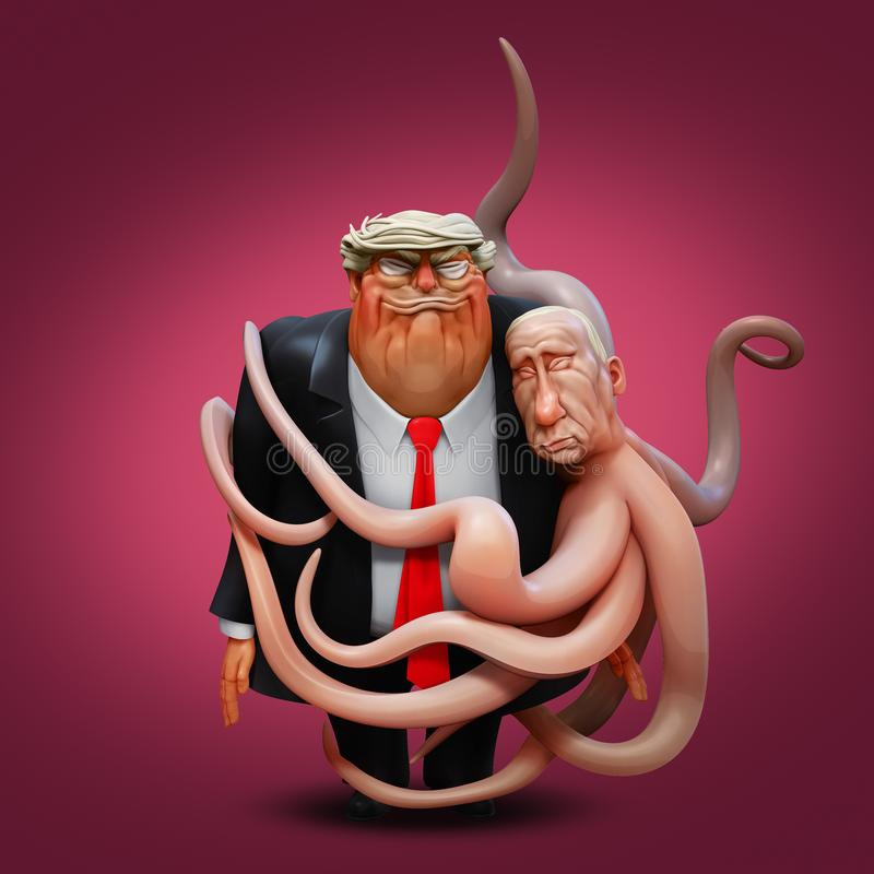 March 1, 2018: The personal portrait of Donald Trump in the arms of the octopus Vladimir Putin. 3D illustration stock illustration