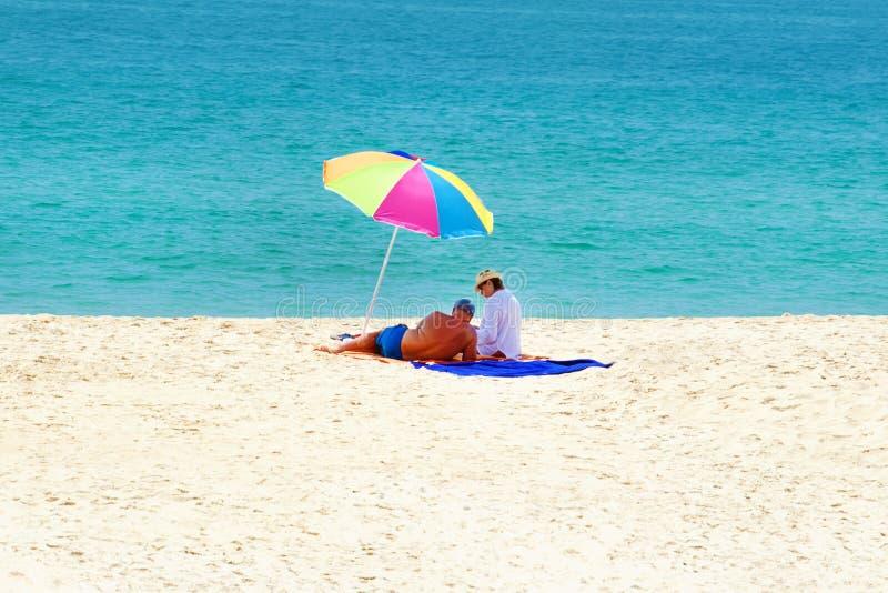 13 March 2019 Phuket Thailand. Happy senior couple on tropical beach royalty free stock photos