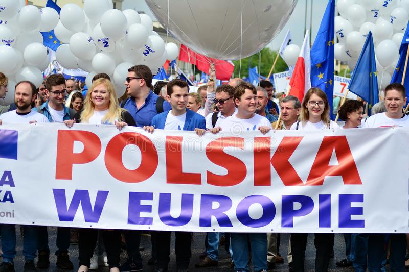 March `Poland in Europe`.Thousands of opposition supporters marched  in the Polish capital to celebrate the nation`s European Unio stock photos