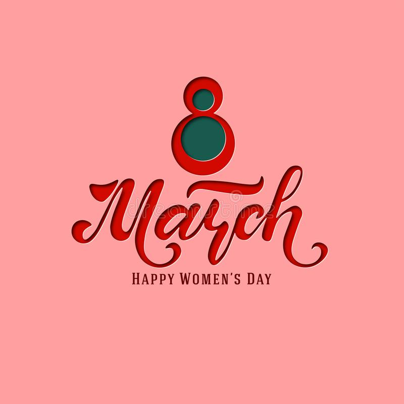 March 8. Postcard. Women`s Day. Paper cut holiday background. Lettering. Trendy design template. Happy mother`s day. Vector royalty free illustration