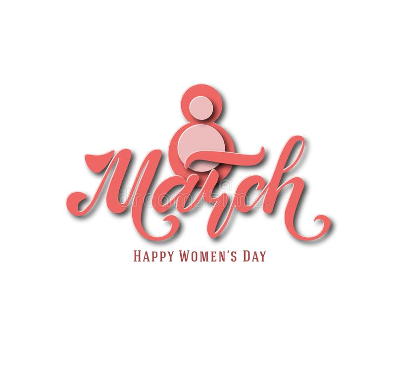 March 8. Postcard. Women`s Day. Paper cut holiday background. Lettering. Trendy design template. Happy mother`s day. Vector stock illustration