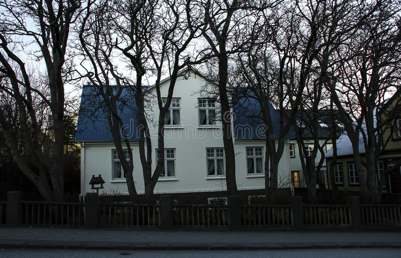 March 19, 2014 - Reykjavik, Iceland. A typical Night Landscape of Reykjavik royalty free stock photography