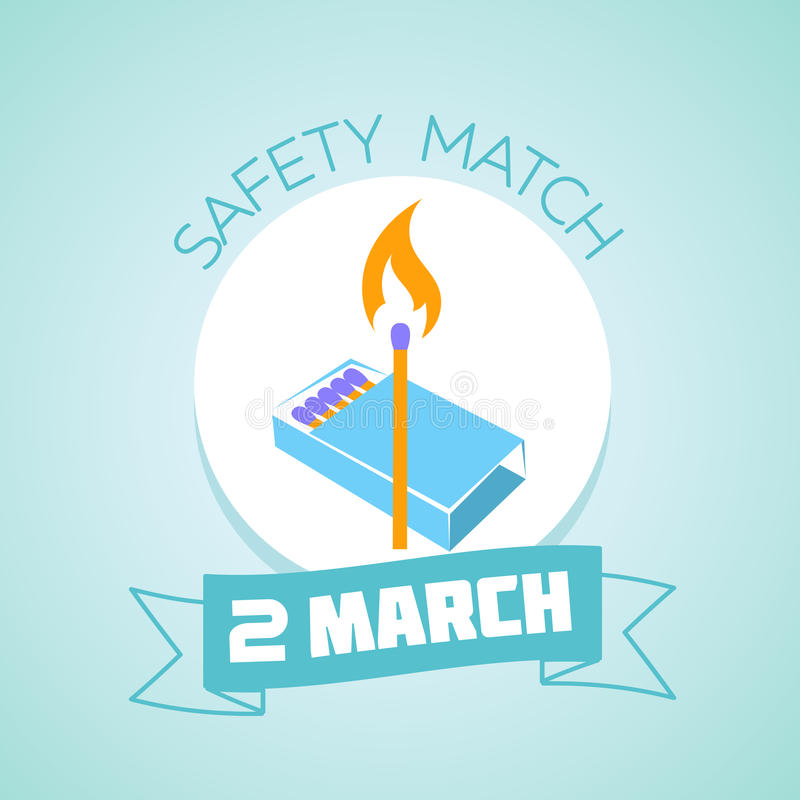 2 March Safety match day stock illustration