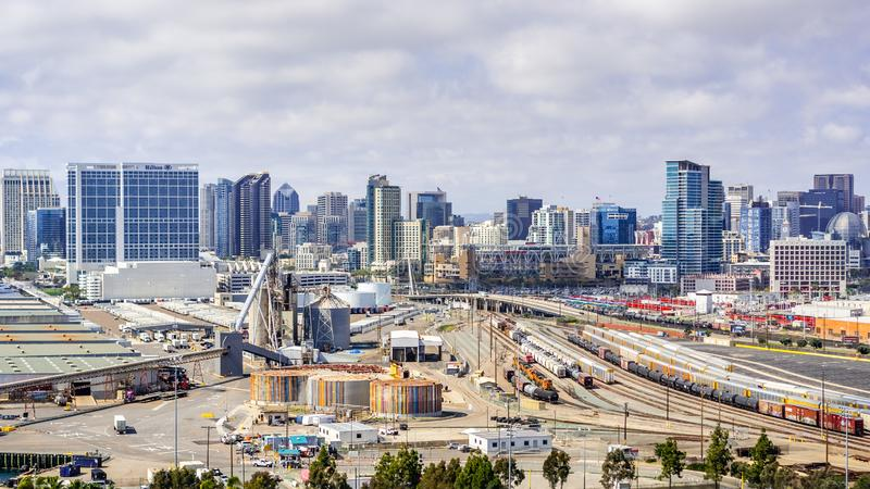 March 19, 2019 San Diego / CA / USA - Aerial view of an industrial area near the Port of San Diego; the city`s skyline visible in royalty free stock images