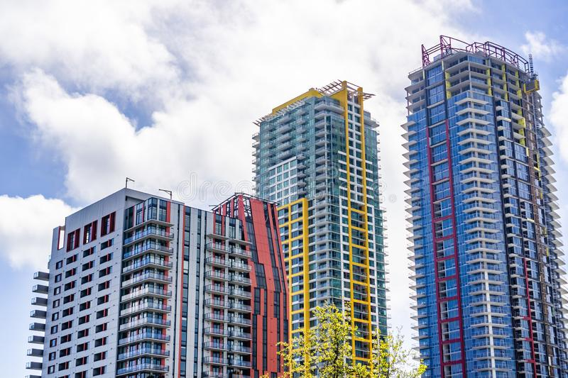 March 19, 2019 San Diego / CA / USA - Residential high rise buildings under construction in the downtown area royalty free stock photography