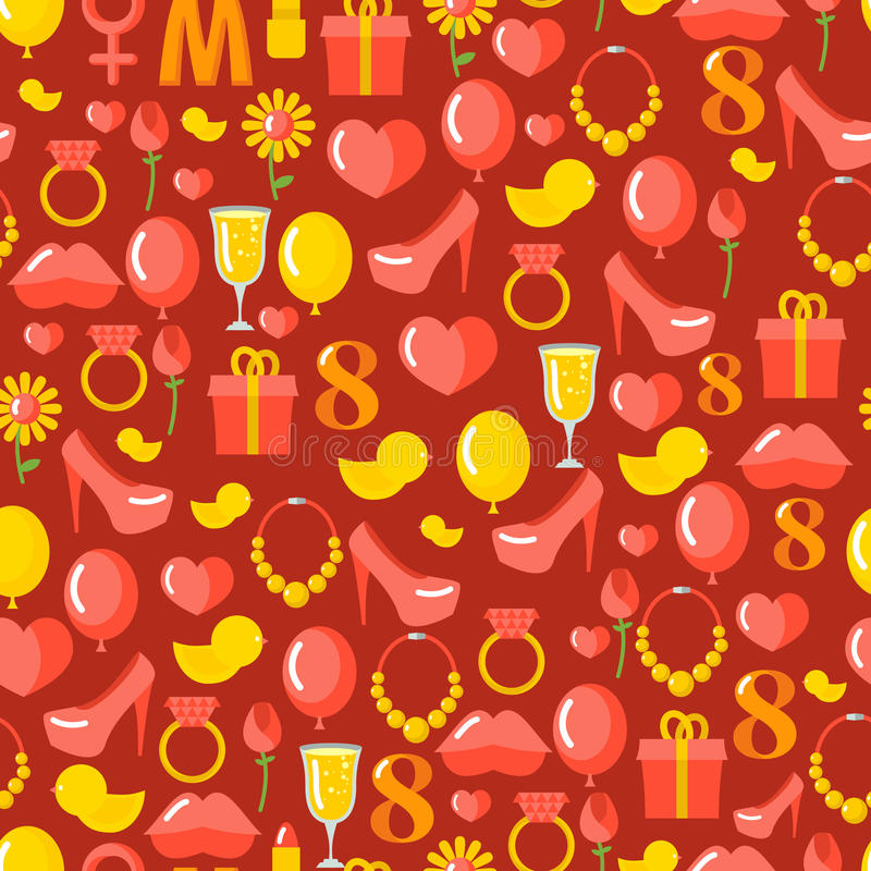 8 March seamless pattern. Background of gifts for holiday. vector illustration
