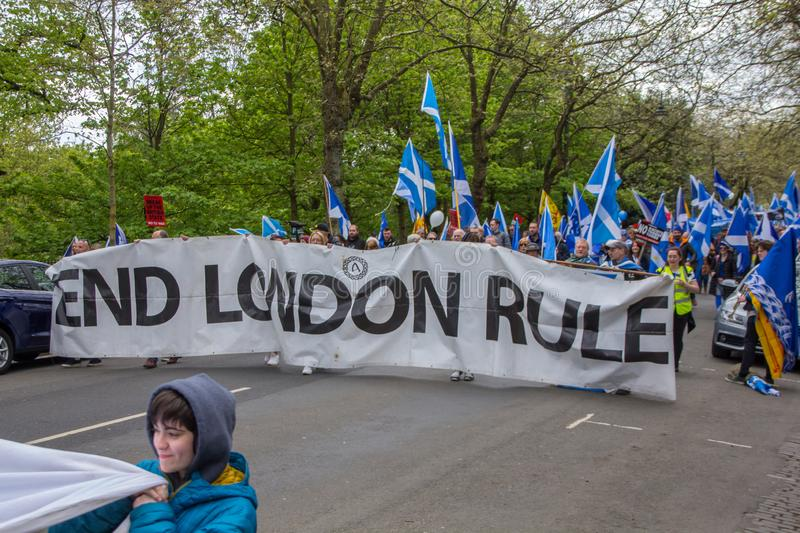 March for Second Scottish Independence Referendum, People carry `End London Rule` Banner stock images