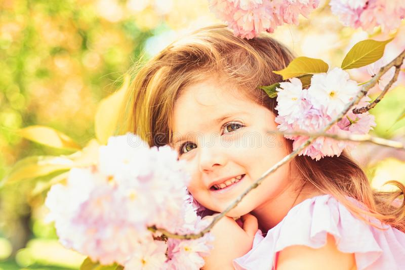 8 march. Small child. Natural beauty. Childrens day. Springtime. weather forecast. Summer girl fashion. Happy childhood royalty free stock photo