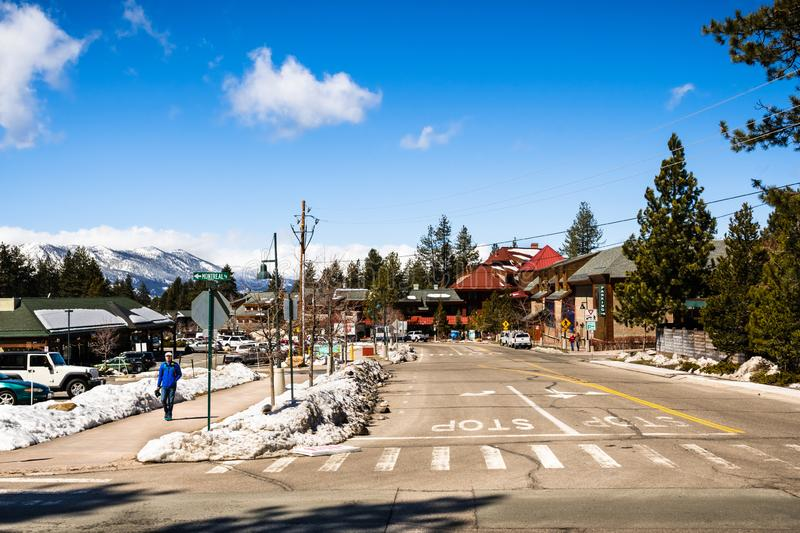 March 23, 2018 South Lake Tahoe / CA / USA - Urban landscape on a clear sunny spring day stock photo