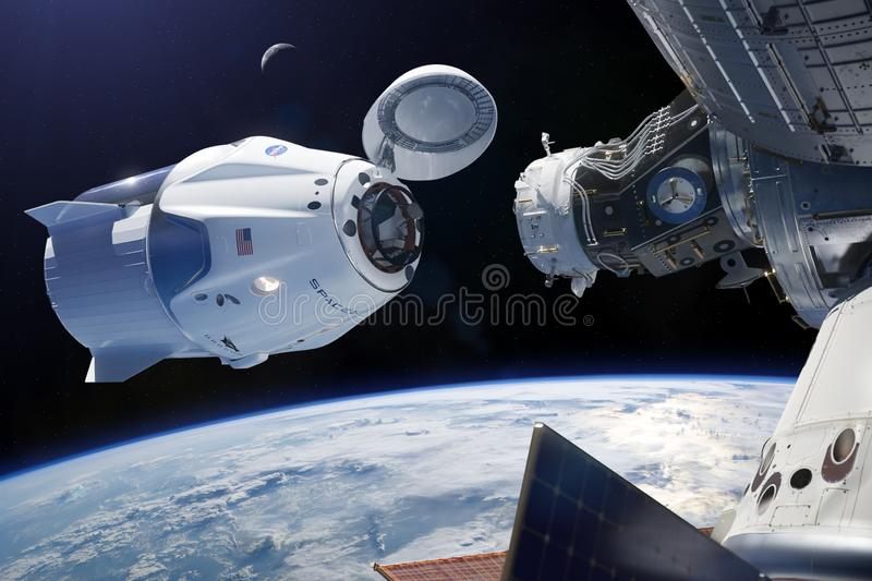 March 03, 2019: SpaceX Crew Dragon spacecraft in low-Earth orbit. Elements of this image furnished by NASA royalty free illustration