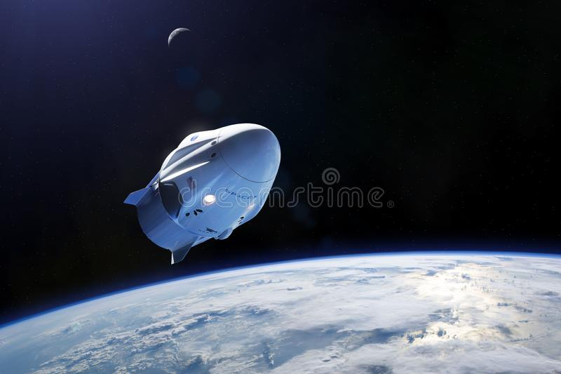 March 03, 2019: SpaceX Crew Dragon spacecraft in low-Earth orbit. Elements of this image furnished by NASA.  royalty free illustration