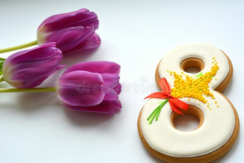 8 march sweet and purple tulips flowers white isolated stock image