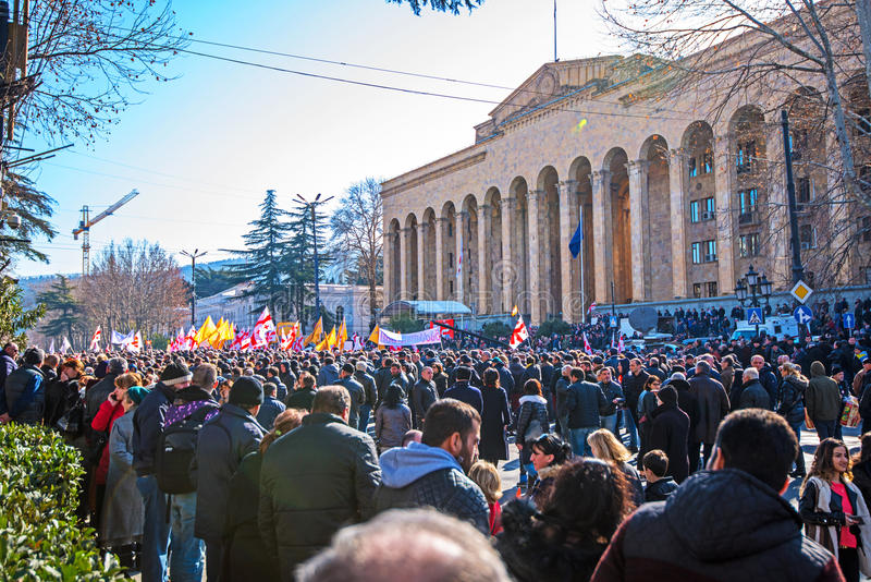 March in Tbilisi Georgia. A protest in support of Georgia`s Rustavi 2 TV station was held in Tbilsi on Sunday 19th February 2017 royalty free stock photos