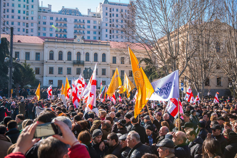 March in Tbilisi Georgia. A protest in support of Georgia`s Rustavi 2 TV station was held in Tbilsi on Sunday 19th February 2017 stock photography