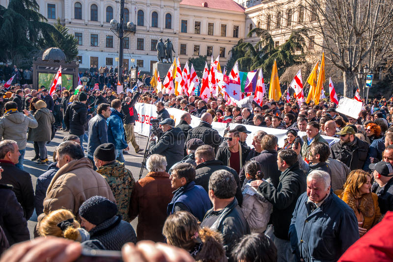 March in Tbilisi Georgia. A protest in support of Georgia`s Rustavi 2 TV station was held in Tbilsi on Sunday 19th February 2017 royalty free stock photo